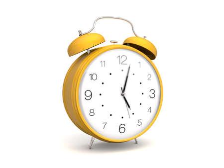 노란색 레트로 알람 시계
