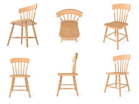 다른 각도로 나무 의자