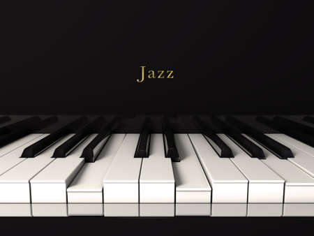 keyboard keys: Jazz piano front view Stock Photo