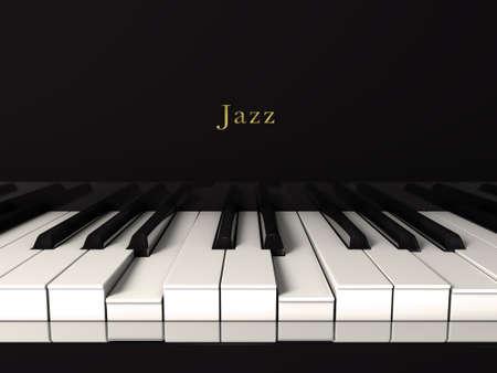 teclado: Jazz del piano negro Vista frontal Foto de archivo