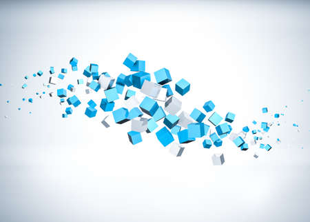 Blue cubes flying abstract background