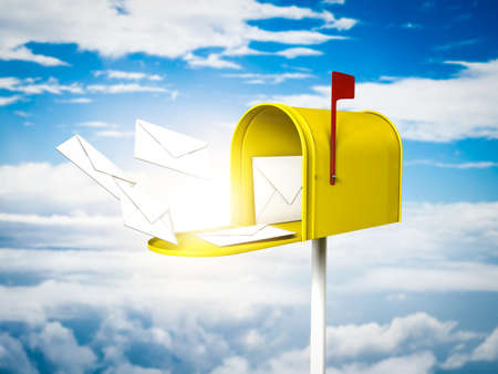 metal mailbox: Yellow mailbox in the sky Stock Photo