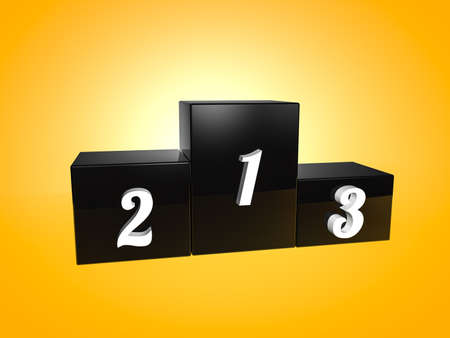 Black podium on yellow backgorund Фото со стока