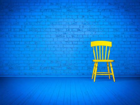 노란색 의자가있는 심플한 블루 인테리어 스톡 콘텐츠