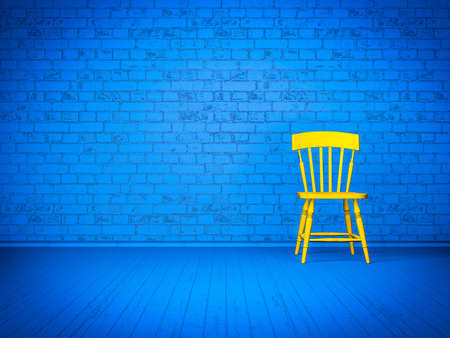 Simple blue interior with yellow chair