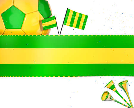 Soccer cheer elements in green and yellow Stok Fotoğraf