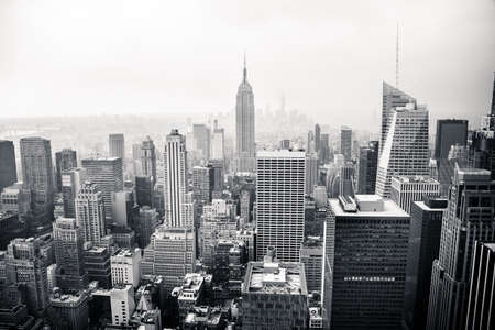 black and white: New York city aerial view Stock Photo