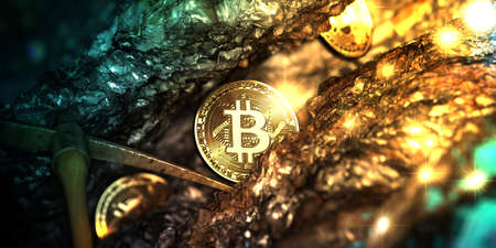Golden bitcoin mining in deep golden cave with Pick axe and some coin. 3d illustration. Stock Photo