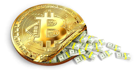 Bitcoin_Can_Filled_With_DollarNote_v001 Stock Photo