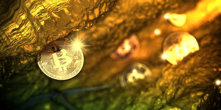Golden bitcoin appear in deep golden cave with some coin. 3d illustration.