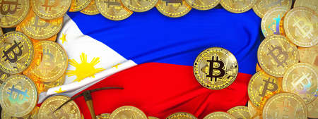 Bitcoins Gold around Philippines  flag and pickaxe on the left.3D Illustration.