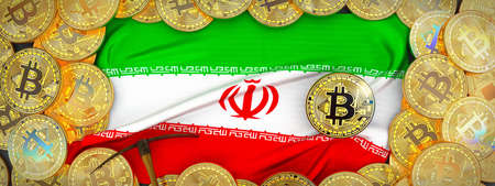 Bitcoins Gold around Iran  flag and pickaxe on the left.3D Illustration.