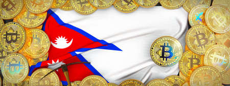 Bitcoins Gold around Nepal  flag and pickaxe on the left.3D Illustration.