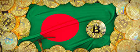 Bitcoins Gold around Bangladesh  flag and pickaxe on the left.3D Illustration. Stock Photo
