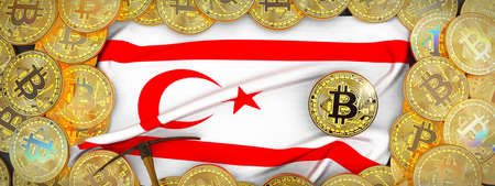 Bitcoins Gold around Northern Cyprus  flag and pickaxe on the left.3D Illustration.