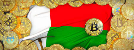 Bitcoins Gold around Madagascar  flag and pickaxe on the left.3D Illustration. Stock Photo