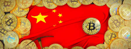 Bitcoins Gold around China  flag and pickaxe on the left.3D Illustration.