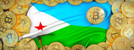 Bitcoins Gold around Djibouti  flag and pickaxe on the left.3D Illustration.
