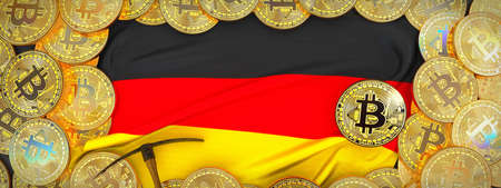 Bitcoins Gold around Germany  flag and pickaxe on the left.3D Illustration. Stock Photo