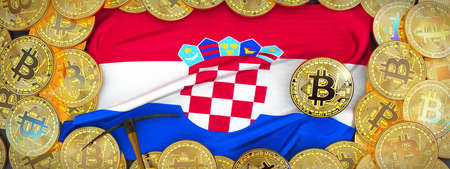 Bitcoins Gold around Croatia  flag and pickaxe on the left.3D Illustration.