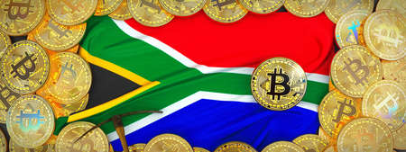Bitcoins Gold around South Africa  flag and pickaxe on the left.3D Illustration.
