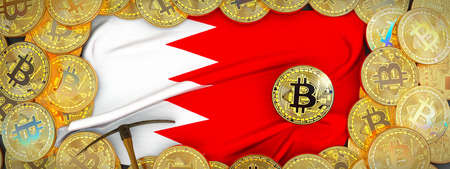 Bitcoins Gold around Bahrain  flag and pickaxe on the left.3D Illustration.