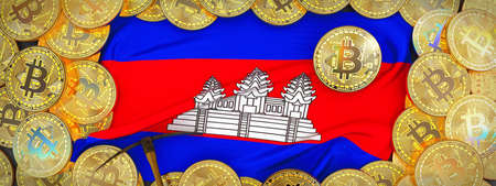 Bitcoins Gold around Cambodia  flag and pickaxe on the left.3D Illustration.