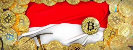 Bitcoins Gold around Indonesia  flag and pickaxe on the left.3D Illustration.