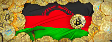 Bitcoins Gold around Malawi  flag and pickaxe on the left.3D Illustration.