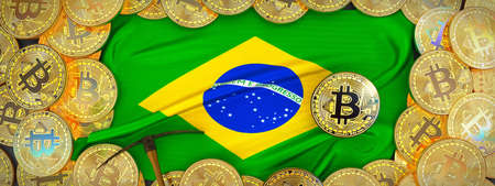 Bitcoins Gold around Brazil  flag and pickaxe on the left.3D Illustration.