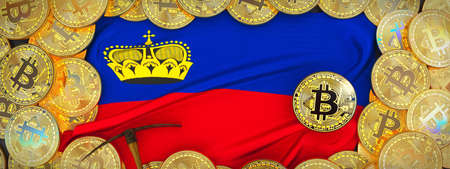 Bitcoins Gold around Liechtenstein  flag and pickaxe on the left.3D Illustration.