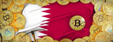 Bitcoins Gold around Qatar  flag and pickaxe on the left.3D Illustration.