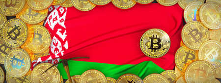 Bitcoins Gold around Belarus  flag and pickaxe on the left.3D Illustration. Stock Photo