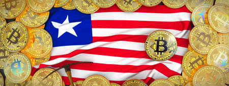 Bitcoins Gold around Liberia  flag and pickaxe on the left.3D Illustration.