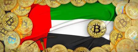 Bitcoins Gold around United Arab  flag and pickaxe on the left.3D Illustration.