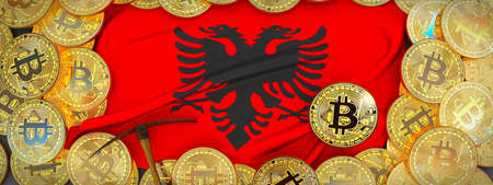 Bitcoins Gold around Albania  flag and pickaxe on the left.3D Illustration.