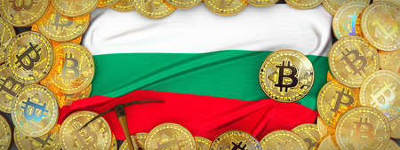 Bitcoins Gold around Bulgaria  flag and pickaxe on the left.3D Illustration.
