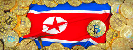 Bitcoins Gold around North korea  flag and pickaxe on the left.3D Illustration. Stock Photo
