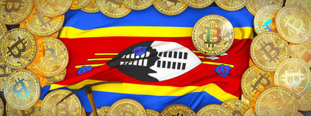 Bitcoins Gold around Swaziland  flag and pickaxe on the left.3D Illustration.
