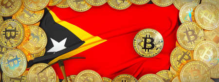 Bitcoins Gold around East Timor  flag and pickaxe on the left.3D Illustration. Stock Photo