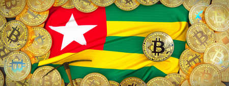 Bitcoins Gold around Togo  flag and pickaxe on the left.3D Illustration.
