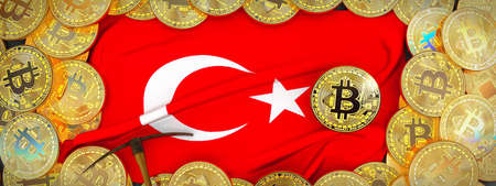 Bitcoins Gold around Turkey  flag and pickaxe on the left.3D Illustration.