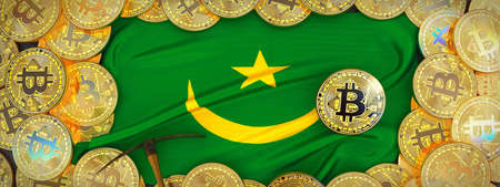 Bitcoins Gold around Mauritania  flag and pickaxe on the left.3D Illustration.