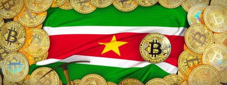 Bitcoins Gold around Suriname  flag and pickaxe on the left.3D Illustration. Stock Photo