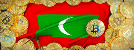 Bitcoins Gold around Maldives  flag and pickaxe on the left.3D Illustration.