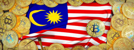 Bitcoins Gold around Malaysia  flag and pickaxe on the left.3D Illustration.