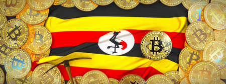 Bitcoins Gold around Uganda  flag and pickaxe on the left.3D Illustration.