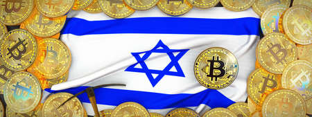 Bitcoins Gold around Israel  flag and pickaxe on the left.3D Illustration.