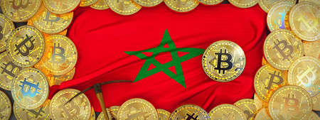 Bitcoins Gold around Morocco  flag and pickaxe on the left.3D Illustration.