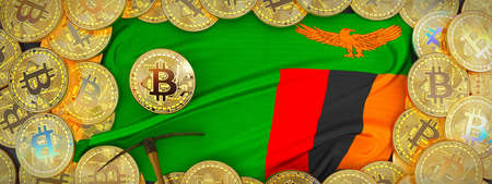 Bitcoins Gold around Zambia  flag and pickaxe on the left.3D Illustration.